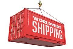 Παγκοσμίως στέλνοντας - κόκκινο κρεμώντας εμπορευματοκιβώτιο φορτίου στοκ εικόνες
