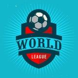 Παγκόσμια ένωση Σχέδιο εμβλημάτων ποδοσφαίρου Πρότυπο διακριτικών ποδοσφαίρου Στοκ φωτογραφίες με δικαίωμα ελεύθερης χρήσης
