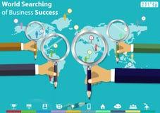 Παγκόσμια έρευνα της ιδέας σύγχρονου σχεδίου επιχειρησιακής επιτυχίας και της διανυσματικής απεικόνισης έννοιας με Magnifier, μολ απεικόνιση αποθεμάτων