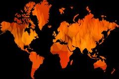 Παγκόσμια αύξηση της θερμοκρασίας λόγω του φαινομένου του θερμοκηπίου, παγκόσμιο πρόβλημα, εικονίδια λίγης πυρκαγιάς ως παγκόσμιο Στοκ φωτογραφία με δικαίωμα ελεύθερης χρήσης