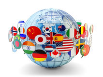 Παγκόσμια επικοινωνία, διεθνείς μήνυμα και έννοια μεταφράσεων Στοκ Φωτογραφία