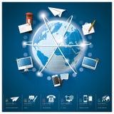 Παγκόσμια επικοινωνία και σύνδεση Infographic με στρογγυλό Circl Στοκ εικόνα με δικαίωμα ελεύθερης χρήσης