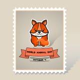 Παγκόσμια ζωική ημέρα Χαριτωμένη ζωική αλεπού Στοκ Εικόνες