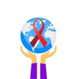 Παγκόσμια Ημέρα κατά του AIDS γήινων σφαιρών παλαμών λαβής χεριών Στοκ Εικόνα