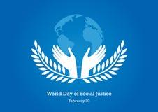 Παγκόσμια ημέρα του διανύσματος κοινωνικής δικαιοσύνης Στοκ Εικόνες