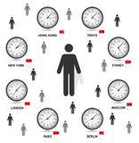 Παγκόσμια διανυσματική απεικόνιση διαφορών ώρας Στοκ Εικόνες