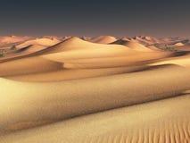 Παγκόσμια ιδέα αλλαγής θερμοκρασίας απόμεροι αμμόλοφοι άμμου κάτω από το θεαματικό ουρανό ηλιοβασιλέματος βραδιού στο τοπίο ερήμω Στοκ φωτογραφία με δικαίωμα ελεύθερης χρήσης