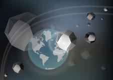 Παγκόσμια καταστροφή Αστεροειδής μετεωρίτης που πετά κοντά στη γη επιτιθεμένων απεικόνιση αποθεμάτων