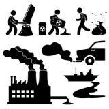 παγκόσμια πράσινη αύξηση της θερμοκρασίας λόγω του φαινομένου του θερμοκηπίου ρύπανσης εικονιδίων Στοκ Εικόνες