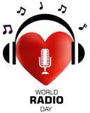 Παγκόσμια ραδιο ημέρα, τρισδιάστατη διανυσματική απεικόνιση έννοιας λογότυπων καρδιών απεικόνιση αποθεμάτων