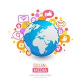 Παγκόσμια σφαίρα με το εικονίδιο app και τις λεκτικές φυσαλίδες επίσης corel σύρετε το διάνυσμα απεικόνισης Στοκ Εικόνα