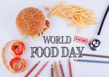 Παγκόσμια τρόφιμα ημέρα στις 16 Οκτωβρίου Υγιής διατροφή, τρόπος ζωής, σώμα και έννοια πνευματικών υγειών Στοκ Εικόνες
