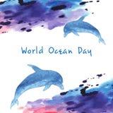 Παγκόσμια ωκεάνια ημέρα Τυποποιημένη εικόνα του νερού Σύνορα υπό μορφή κυμάτων Μπλε δελφίνι, hand-drawn Λεκές Watercolor ελεύθερη απεικόνιση δικαιώματος