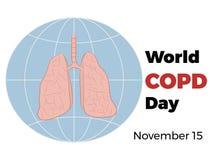 Παγκόσμια COPD ημέρα Ημέρα παγκόσμιων χρόνια παρεμποδιστική πνευμονική ασθενειών Στοκ εικόνες με δικαίωμα ελεύθερης χρήσης