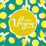 Παγκόσμια vegan ημέρα Διεθνείς διακοπές Νοεμβρίου Συρμένη χέρι τυπογραφία εγγραφής που απομονώνεται στοκ φωτογραφία με δικαίωμα ελεύθερης χρήσης