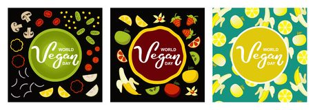 Παγκόσμια vegan ημέρα Διεθνείς διακοπές Νοεμβρίου Συρμένη χέρι τυπογραφία εγγραφής που απομονώνεται στοκ φωτογραφία