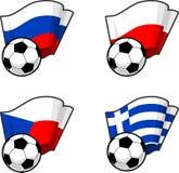 Παγκόσμιες σημαίες και σφαίρα ποδοσφαίρου Στοκ Εικόνα
