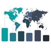 Παγκόσμιοι χάρτες Infographics της γραφικής παράστασης ηπείρων corolrs στο άσπρο μπλε κενό υποβάθρου απεικόνιση αποθεμάτων