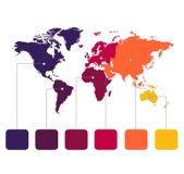 Παγκόσμιοι χάρτες Infographics των ηπείρων corolrs στο άσπρο κενό εικονιδίων υπ ελεύθερη απεικόνιση δικαιώματος