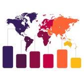 Παγκόσμιοι χάρτες Infographics των χρωμάτων γραφικών παραστάσεων ηπείρων στο άσπρο κενό υποβάθρου ελεύθερη απεικόνιση δικαιώματος