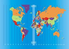 Παγκόσμιοι χάρτης και διαφορές ώρας Στοκ εικόνα με δικαίωμα ελεύθερης χρήσης