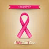 Παγκόσμιος καρκίνος ημέρα στις 4 Φεβρουαρίου, ρόδινο ribbo Στοκ Φωτογραφία
