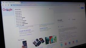 Παγκόσμιος πόλεμος 3 δακτυλογράφησης στη μηχανή αναζήτησης Google απόθεμα βίντεο