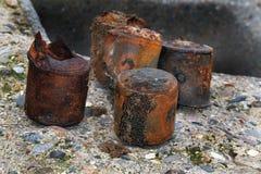 Παγκόσμιος πόλεμος δύο πυρομαχικά και πυροβολικό στην παραλία Στοκ φωτογραφίες με δικαίωμα ελεύθερης χρήσης