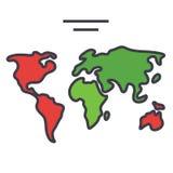Παγκόσμιος χάρτης, ήπειροι, έννοια σφαιρών ελεύθερη απεικόνιση δικαιώματος
