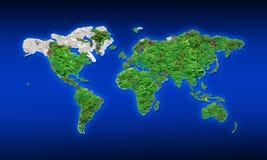 Παγκόσμιος χάρτης από τα πράσινα φύλλα και τη σύσταση βράχου Στοκ Φωτογραφία