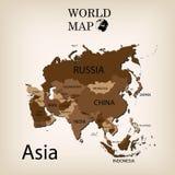Παγκόσμιος χάρτης Ασία Στοκ εικόνα με δικαίωμα ελεύθερης χρήσης