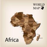 Παγκόσμιος χάρτης Αφρική Στοκ Φωτογραφία