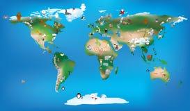 Παγκόσμιος χάρτης για τα χρησιμοποιώντας κινούμενα σχέδια των παιδιών των ζώων και του διάσημου τοπικού LAN διανυσματική απεικόνιση