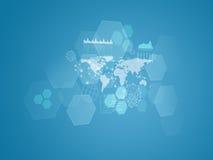 Παγκόσμιος χάρτης, διαφανή hexagons, γραφικές παραστάσεις και Στοκ Φωτογραφίες