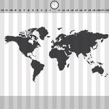 Παγκόσμιος χάρτης διαφορών ώρας με το ρολόι και τα λωρίδες eps10 διανυσματική απεικόνιση