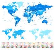 Παγκόσμιος χάρτης και σημαίες - σύνορα, χώρες και πόλεις - απεικόνιση διανυσματική απεικόνιση