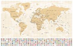 Παγκόσμιος χάρτης και σημαίες - σύνορα, χώρες και πόλεις - εκλεκτής ποιότητας απεικόνιση διανυσματική απεικόνιση