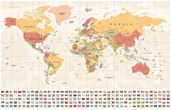 Παγκόσμιος χάρτης και σημαίες - σύνορα, χώρες και πόλεις - εκλεκτής ποιότητας απεικόνιση απεικόνιση αποθεμάτων
