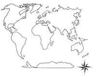 Παγκόσμιος χάρτης και χέρι πυξίδων σχεδιαζόμενο Στοκ Φωτογραφίες