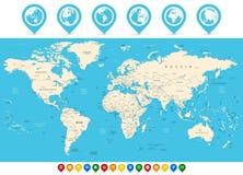 Παγκόσμιος χάρτης και χρωματισμένοι δείκτες χαρτών Στοκ εικόνα με δικαίωμα ελεύθερης χρήσης