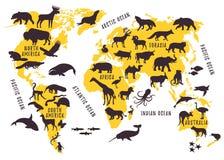 Παγκόσμιος χάρτης κινούμενων σχεδίων με τις σκιαγραφίες ζώων για τα παιδιά απεικόνιση αποθεμάτων