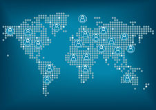 Παγκόσμιος χάρτης με τα σημεία Άνδρες και γυναίκες που συνδέονται συνολικά μέσω του κοινωνικού δικτύου Στοκ Εικόνες