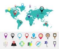 Παγκόσμιος χάρτης με την καρφίτσα θέσεων στοκ εικόνα