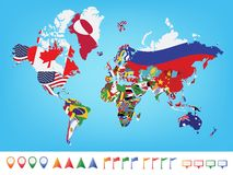 Παγκόσμιος χάρτης με τη σημαία Στοκ Φωτογραφία