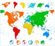 Παγκόσμιος χάρτης με τις ζωηρόχρωμες ηπείρους και τις τρισδιάστατες σφαίρες Στοκ Φωτογραφίες