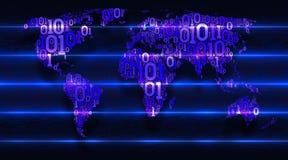 Παγκόσμιος χάρτης με τις ηπείρους από έναν δυαδικό κώδικα με ένα υπόβαθρο της αφηρημένης ηλεκτρονικής Υπηρεσία σύννεφων έννοιας,  απεικόνιση αποθεμάτων