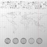 Παγκόσμιος χάρτης με τις παγκόσμιες σφαίρες και άλλα στοιχεία Στοκ Φωτογραφία
