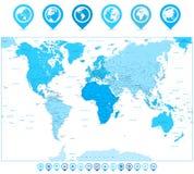 Παγκόσμιος χάρτης με τους δείκτες και τις ηπείρους χαρτών στα χρώματα του μπλε ISO Στοκ εικόνα με δικαίωμα ελεύθερης χρήσης