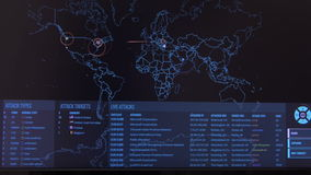 Παγκόσμιος χάρτης με τους διαφορετικούς στόχους για την επίθεση cyber Έννοια χάραξης και τεχνολογίας απόθεμα βίντεο