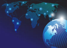 Παγκόσμιος χάρτης με το παγκόσμιο δίκτυο Στοκ φωτογραφία με δικαίωμα ελεύθερης χρήσης